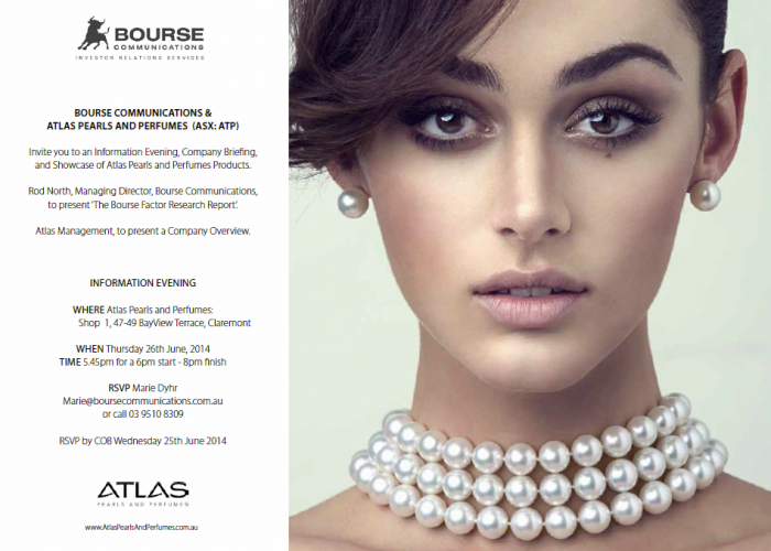 Invitation: Atlas Pearls and Perfumes Event – Thursday 26th June