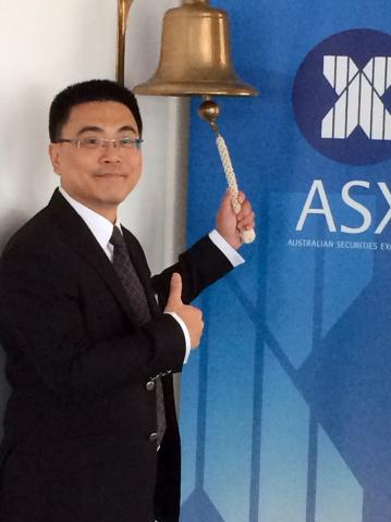 Premiere Eastern Energy Ltd Executive Director & CEO, Mr Zhan Aiping, ringing the bell at today's listing on the ASX